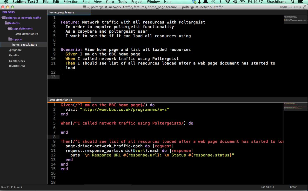 Cucumber, Capybara and Poltergeist as Developer Tools: Network