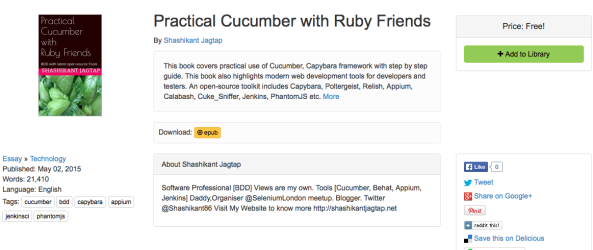 Published New eBook: Practical Cucumber with Ruby Friends