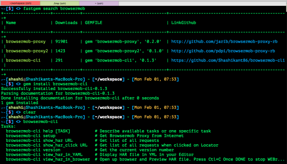 BrowserMob-CLI : Ruby library to generate HAR from command line