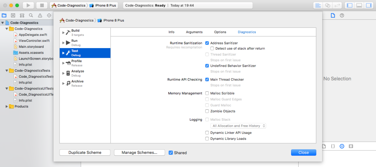 Activating Xcode 9 Code Diagnostics Tools on the iOS CI