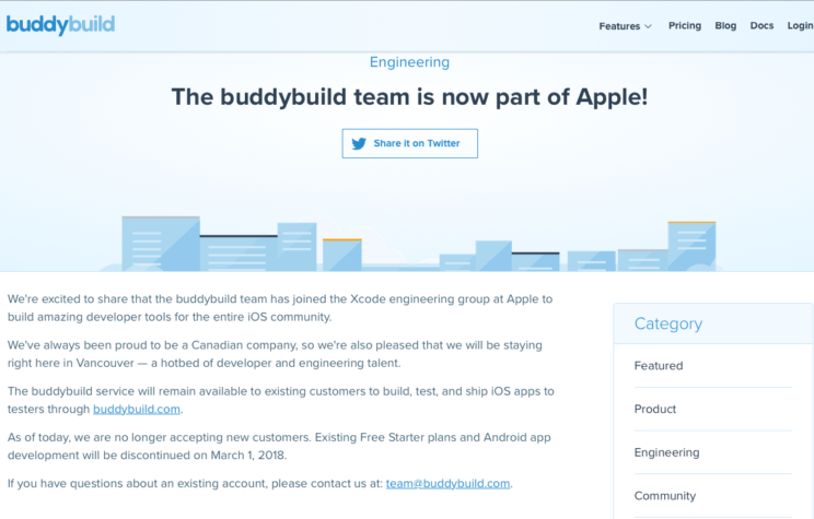 07f5f9b9292 Apple Acquires BuddyBuild. Oh, My Xcode Server! - DZone Mobile